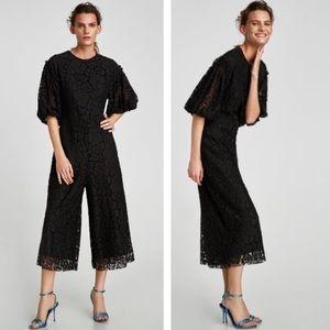 Zara Floral Lace Wide Cropped Leg Jumpsuit Sz M